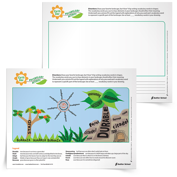 """In honor of Earth Day, have students draw their favorite landscape, but actually """"draw"""" it by writing vocabulary words in shapes. Then have students give brief explanations for why they chose the words they did for each object."""