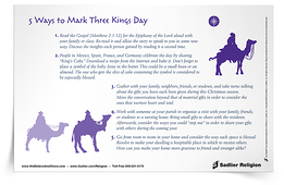 The Feast of the Epiphany of the Lord, which is celebrated by Catholics in the United States on the Sunday between January 2 and January 8, marks the journey of the Magi to pay homage to the Holy Child Jesus. Use the 5 Ways to Mark Three Kings Day Reflection to spark ideas for celebrating the Epiphany.