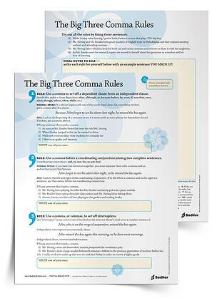 The Big Three Comma Rules Grades 3 12 Grammar Writing Tip Sheet