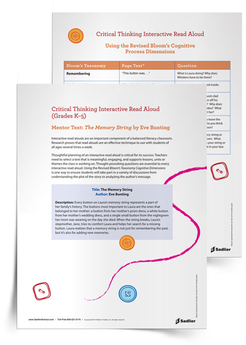 This Critical Thinking Interactive Read Aloud of The Memory String by Eve Bunting provides the thought-provoking questions, essential to every interactive read aloud, and uses the Revised Bloom's Taxonomy Cognitive Dimensions.