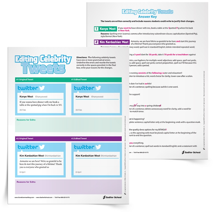 Have students use social media for editing practice! With the Editing Celebrity Tweets Activity students will read some of their favorite celebrities' tweets to find errors, correct them, and give reasons for their corrections.