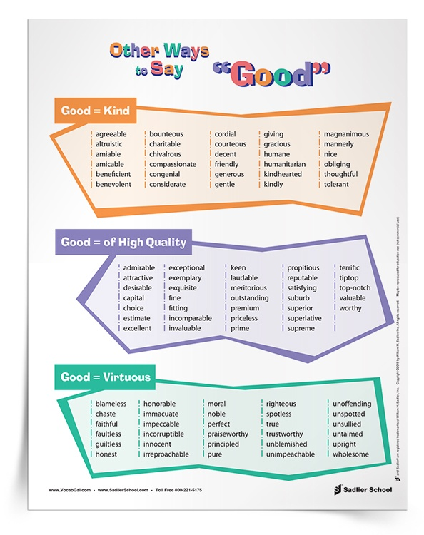 "Help students expand their vocabulary with the Other Ways to Say ""Good"" Poster & Tip Sheet. With these printables, students will learn alternatives for the overused word ""good"" and a resource to reference during writing assignments."