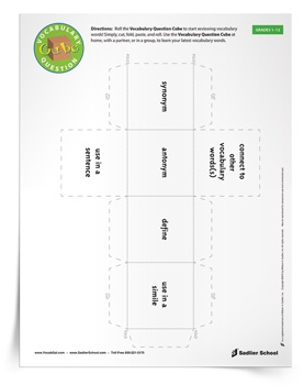 Roll the Vocabulary Question Cube and start reviewing vocabulary words! Students can use this activity at home, with a partner, or in a group, to learn the latest vocabulary words.