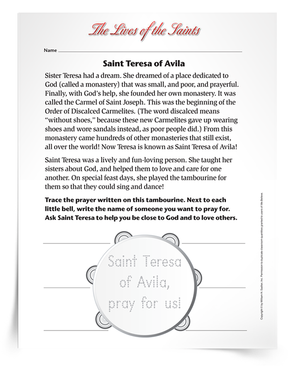 Saint-Teresa-of-Avila-Primary-Activity