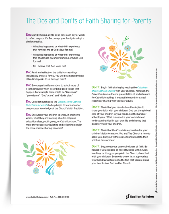 Support parents as they share their faith story with their children. Download and share an eBook that outlines the key Dos and Don'ts of sharing family faith.